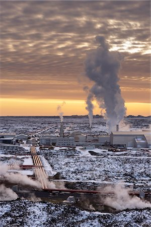 Svartsengi (Blue Lagoon) Geothermal Power Station at sunset, Grindavik, Reykjanes Peninsula, Iceland, Polar Regions Stock Photo - Rights-Managed, Code: 841-03507762