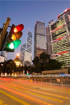 Bank of China and Hong Kong and Shanghai Bank illuminated at dusk, Statue Square in the financial district of Central, Hong Kong Island, Hong Kong, China, Asia Stock Photo - Rights-Managed, Code: 841-03518326