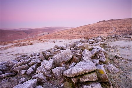 dartmoor national park - Frost coats the circular stone perimeter wall of the Bronze Age settlement of Grimspound in Dartmoor National Park, Devon, England, United Kingdom, Europe Stock Photo - Rights-Managed, Code: 841-03518698