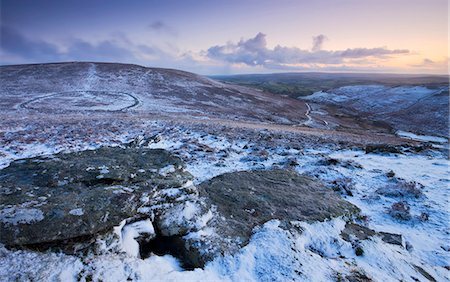 dartmoor national park - Bronze Age walled settlement of Grimspound, isolated in a snow covered moorland wilderness, viewed from Hookney Tor overlook, Dartmoor National Park, Devon, England, United Kingdom, Europe Stock Photo - Rights-Managed, Code: 841-03518709