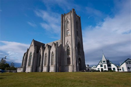 The neogothic Kristkirkja, Roman Catholic church of Reykjavik dating from 1929, Reykjavik, Iceland, Polar Regions Stock Photo - Rights-Managed, Code: 841-03674760