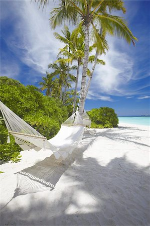 Hammock on empty tropical beach, Maldives, Indian Ocean, Asia Stock Photo - Rights-Managed, Code: 841-03675009