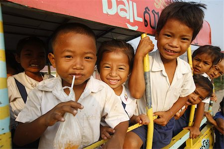 Cambodian children on the way to school, Siem Reap, Cambodia, Indochina, Southeast Asia, Asia Stock Photo - Rights-Managed, Code: 841-03676036