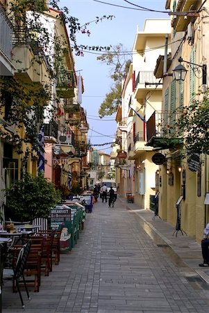 road landscape - Pedestrian zone of Nafplio, Peloponnese, Greece, Europe Stock Photo - Rights-Managed, Code: 841-03676491