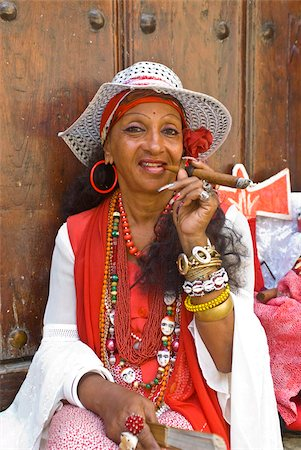 Woman smoking a cigar, Havana, Cuba, West Indies, Caribbean, Central America Stock Photo - Rights-Managed, Code: 841-03676822