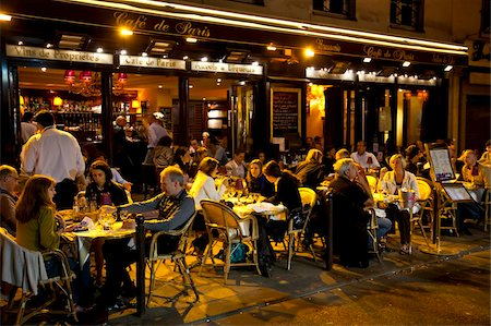 People dining at night, Left Bank, Paris, France, Europe Stock Photo - Rights-Managed, Code: 841-03676933