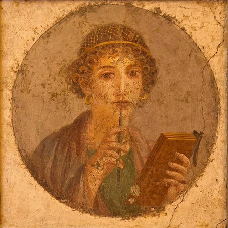 Portrait of young girl, Sappho, from Pompeii, National Archaeological Museum, Naples, Campania, Italy, Europe Stock Photo - Rights-Managed, Code: 841-03677497