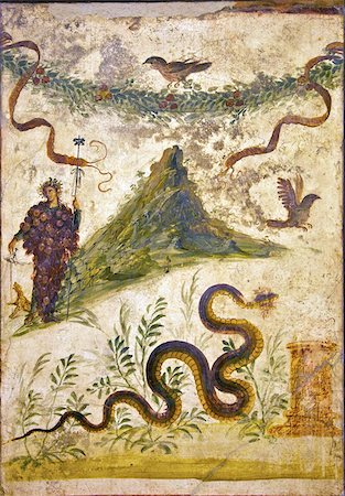 Bacchus wearing bunch of grapes pours wine for panther to drink, House of Centenary, from Pompeii, National Archaeological Museum, Naples, Campania, Italy, Europe Stock Photo - Rights-Managed, Code: 841-03677498