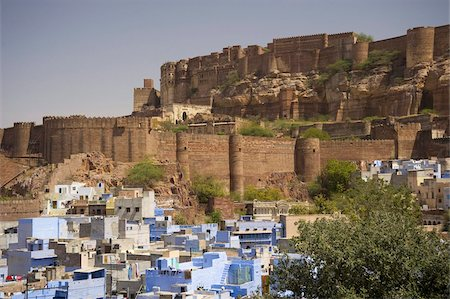 The Blue City overlooked by the hilltop Mehrangarh Fort, Jodhpur, Rajasthan, India, Asia Stock Photo - Rights-Managed, Code: 841-03672227