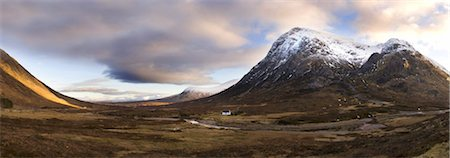panoramic winter scene - Winter panoramic view of Rannoch Moor showing lone whitewashed cottage on the bank of a river, dwarfed by snow-covered mountains, Rannoch Moor, near Fort William, Highland, Scotland, United Kingdom, Europe Stock Photo - Rights-Managed, Code: 841-03672398