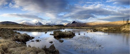 panoramic winter scene - Panoramic view across Lochain Na h'Achlaise on clear winter morning towards the snow-covered mountains of the Black Mount range, Rannoch Moor, near Fort William, Highland, Scotland, United Kingdom, Europe Stock Photo - Rights-Managed, Code: 841-03672399