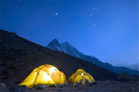 Illuminated tents at Island Peak Base Camp, Solu Khumbu Everest Region, Sagarmatha National Park, Himalayas, Nepal, Asia Stock Photo - Rights-Managed, Code: 841-03672841