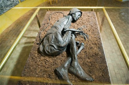 prehistoric - Preserved body of the Tollund Man, hung to death in 300 BC, Silkeborg Museum, Silkeborg, Jutland, Denmark, Scandinavia, Europe Stock Photo - Rights-Managed, Code: 841-03673027
