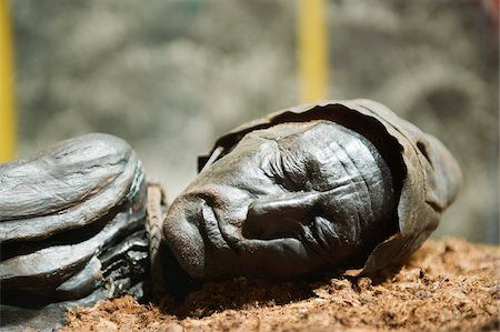prehistoric - Preserved body of the Tollund Man, hung to death in 300 BC, Silkeborg Museum, Silkeborg, Jutland, Denmark, Scandinavia, Europe Stock Photo - Rights-Managed, Code: 841-03673028
