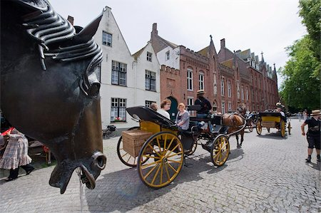 Horse and cart for tourists, old town, UNESCO World Heritage Site, Bruges, Flanders, Belgium, Europe Stock Photo - Rights-Managed, Code: 841-03673052