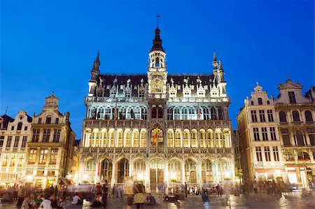 placing - Hotel de Ville (Town Hall) in the Grand Place illuminated at night, UNESCO World Heritage Site, Brussels, Belgium, Europe Stock Photo - Rights-Managed, Code: 841-03673072