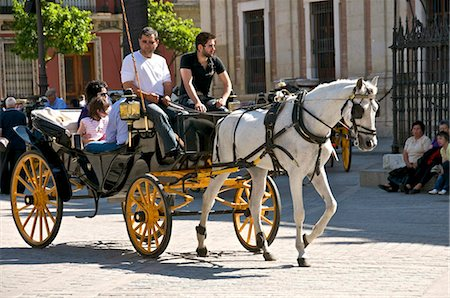 Tourists in horsedrawn cart, Seville, Andalucia, Spain, Europe Stock Photo - Rights-Managed, Code: 841-03868109