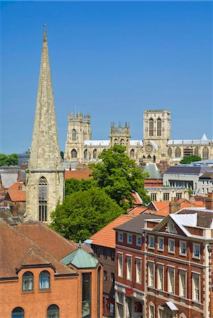York Minster, northern Europe's largest Gothic cathedral, the spire of St Mary's church, and the skyline of the city of York, Yorkshire, England, United Kingdom, Europe Stock Photo - Rights-Managed, Code: 841-03868213