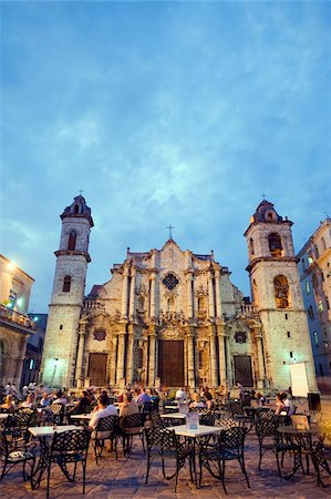 Outdoor dining, San Cristobal Cathedral, Plaza de la Catedral, Habana Vieja (Old Town), UNESCO World Heritage Site, Havana, Cuba, West Indies, Caribbean, Central America Stock Photo - Rights-Managed, Code: 841-03868276