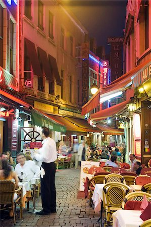 Outdoor dining in narrow street of restaurants, Brussels, Belgium, Europe Stock Photo - Rights-Managed, Code: 841-03868383