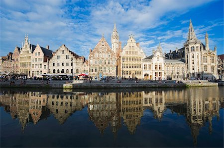 Reflection of waterfront town houses, Ghent, Flanders, Belgium, Europe Stock Photo - Rights-Managed, Code: 841-03868392
