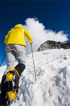 A climber walking up a snowfield, Pico de Aneto, the highest peak in the Pyrenees, Spain, Europe Stock Photo - Rights-Managed, Code: 841-03868401
