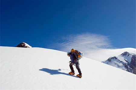 Climber on Aiguille de Bionnassay on the route to Mont Blanc, French Alps, France, Europe Stock Photo - Rights-Managed, Code: 841-03868451
