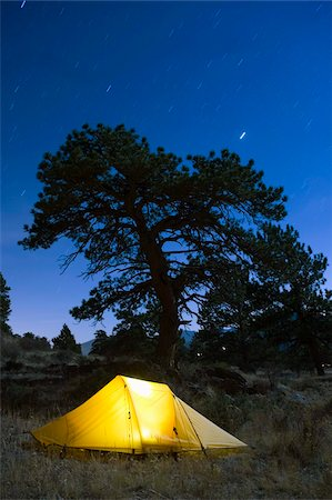 Tent illuminated under the night sky, Rocky Mountain National Park, Colorado, United States of America, North America Stock Photo - Rights-Managed, Code: 841-03868521