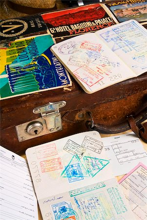 stamped - Passport, boarding pass, travel documents and luggage Stock Photo - Rights-Managed, Code: 841-03869282