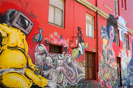 Murals in downtown Valparaiso, Chile, South America Stock Photo - Rights-Managed, Code: 841-03869582