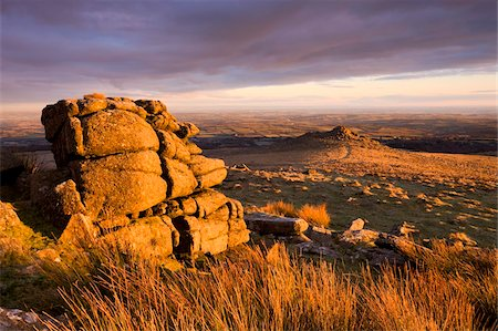 dartmoor national park - Golden winter sunshine glows against the granite outcrops at Belstone Tor, Dartmoor National Park, Devon, England, United Kingdom, Europe Stock Photo - Rights-Managed, Code: 841-03869945