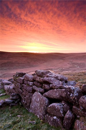 dartmoor national park - Spectacular sunrise above Irishmans Wall on Belstone Common in winter, Dartmoor National Park, Devon, England, United Kingdom. Europe Stock Photo - Rights-Managed, Code: 841-03869940