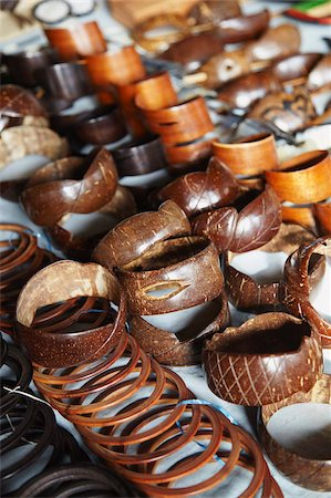 Jewellery made from coconut shells at market, Inhambane, Mozambique, Africa Stock Photo - Rights-Managed, Code: 841-03870138