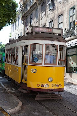 Tram in the Alfama district, Lisbon, Portugal, Europe Stock Photo - Rights-Managed, Code: 841-03870512
