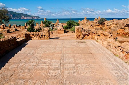 Mosaics at the Roman ruins of Tipasa, UNESCO World Heritage Site, on the Algerian coast, Algeria, North Africa, Africa Stock Photo - Rights-Managed, Code: 841-03871131