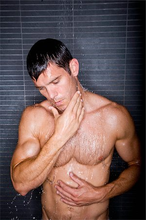 Sexy man taking shower Stock Photo - Rights-Managed, Code: 842-05980087