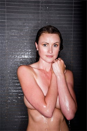 Beautiful woman taking a shower Stock Photo - Rights-Managed, Code: 842-05980090