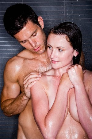 Romantic couple taking a shower Stock Photo - Rights-Managed, Code: 842-05980091