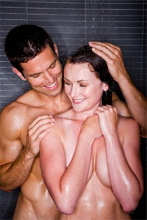 Romantic couple taking a shower Stock Photo - Rights-Managed, Code: 842-05980092