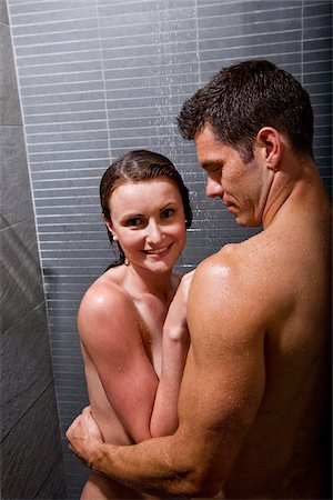 Romantic couple taking a shower Stock Photo - Rights-Managed, Code: 842-05980093