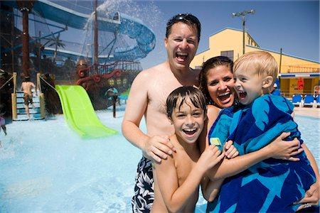 Portrait of family having fun at water park Stock Photo - Rights-Managed, Code: 842-02653644