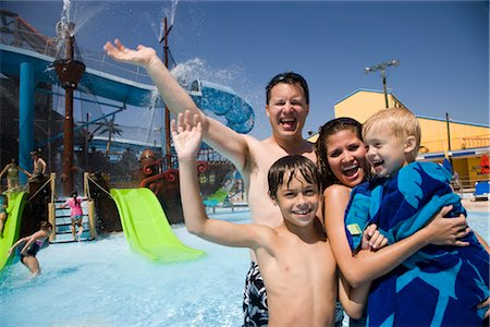 Portrait of family having fun at water park Stock Photo - Rights-Managed, Code: 842-02653645