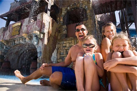 Portrait of family enjoying at water park Stock Photo - Rights-Managed, Code: 842-02653689