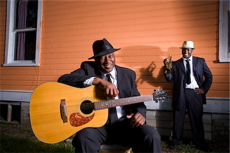 Portrait of African American Blues musicians outside house Stock Photo - Rights-Managed, Code: 842-02752138