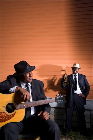 Portrait of African American Blues musicians outside house Stock Photo - Rights-Managed, Code: 842-02752139