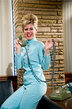 phone cord - Vintage portrait of young secretary answering the phone Stock Photo - Rights-Managed, Code: 842-03198767