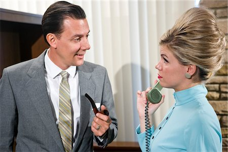 phone cord - Vintage portrait of young secretary with businessman Stock Photo - Rights-Managed, Code: 842-03198789