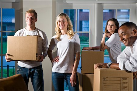 Multi-ethnic friends and couples with moving boxes Stock Photo - Rights-Managed, Code: 842-03200009