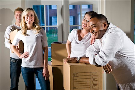 Multi-ethnic friends and couples with moving boxes Stock Photo - Rights-Managed, Code: 842-03200010