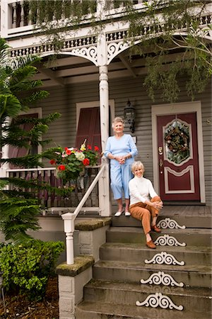 Elderly woman and adult daughter on front porch of house Stock Photo - Rights-Managed, Code: 842-03200053
